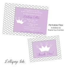 purple and grey baby shower invitations purple princess baby shower printable invitation and thank you