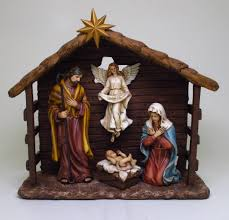 nativity birth of jesus in a manger figurine statue born of christ