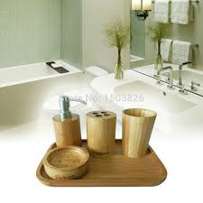 Bamboo Bathroom Accessories by Badasa 5 Pcs Natural Bamboo Collection Bathroom Accessories Set