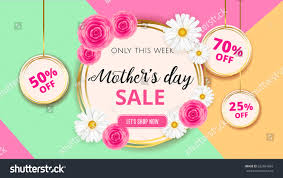 s day sales mothers day sale background template flowers stock vector