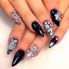 black u0026 white winter print w crystal nail art danishaz hair