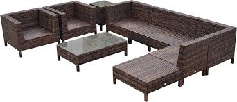 outsunny 9 piece wicker outdoor sectional sofa set patio table