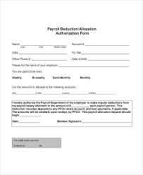 Employee Deduction Form Template payroll deduction form template 10 free sle exle format