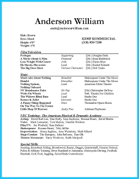 Beginner Acting Resume Template Acting Resume Sle Acting Resume Exles No Experience Actor