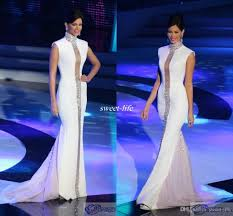 miss universe pageant evening dresses white high neck bling