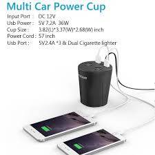 Multi Socket Car Charger With Usb Port Cup Holder Car Charger Qicnet Usb Car Charger 12 24v 3 Usb Port