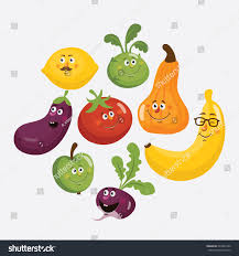 cartoon fruit vegetable cute characters face stock vector