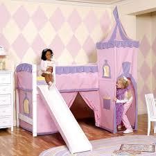 girls castle loft bed arresting slides then stairs frozen bed slide tall kids together