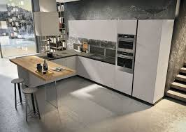 contemporary kitchen wood veneer island lacquered way