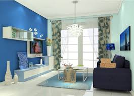 elegant living room with blue tv wall 3d house