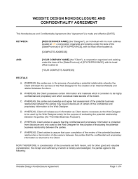 Non Disclosure Statement Template by Website Design Non Disclosure Agreement Template Sle Form