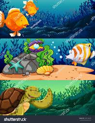 sea animals under ocean illustration stock vector 344178794