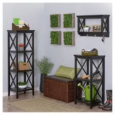 Wall To Wall Bookcases X Frame Collection Wall Shelf With Hooks Espresso Riverridge