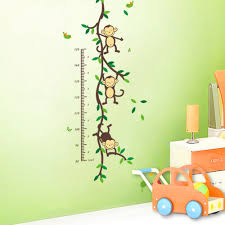 jungle art promotion shop for promotional aliexpress zoo yoo playing jungle monkey tree height wall art stickers nursery decor kids chart measure