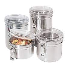 stainless steel canister sets kitchen oggi 4 pc 18 8 stainless steel canister set