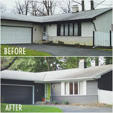 home makeover before and after gray and lime green exterior