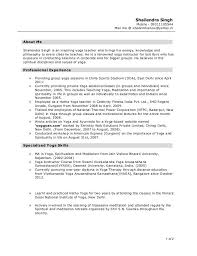 Teachers Resumes Samples by Yoga Teacher Resume Sample Best Resume Collection