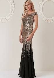 black and gold dress pratt sequin and chiffon maxi dress in black and gold