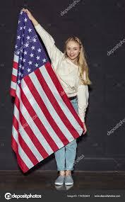 Usa Flag Photos Teen With Usa Flag U2014 Stock Photo Sergpoznanskiy 170352604