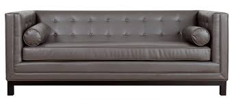 Small Leather Sofa Long Grey Leather Couch With Tufted Back Combined With Arm Rest