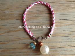 cord bracelet with charm images Star and breast cancer awareness ribbon charms bracelet seed bead jpg