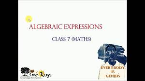 algebraic expressions class 7 maths cbse ncert youtube