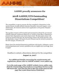 Dissertations In Education 2018 Aahhe Ets Outstanding Dissertations Competition