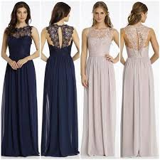 bridesmaid dresses neckline illusion lace top chiffon a line bridesmaid dresses