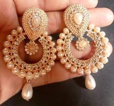 jhumka earring gold plated pearl setting indian 5 cm indian jhumka