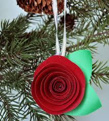 red paper flower christmas ornament set of 5 home decor