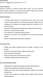 Curriculum Vitae Medical Doctor Doctor Resume Resume For Your Job Application