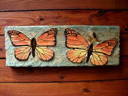 wood sculpture decor two butterfly relief 24x12 inch chainsaw wood carving wall mount