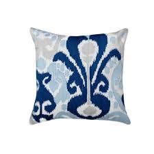 a1hc blue ikat crewel embroidered 20 inch cotton throw pillow u2014 a1hc