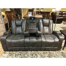 Power Recliners Sofa Furniture Bolero Slate Power Reclining Entertainment Sofa