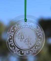 scroll initial monogram etched ornament keepsake ornament