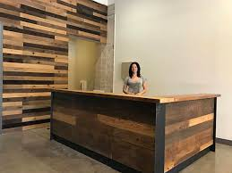 Reception Desk Wood Reclaimed Wood Steel Reception Desk Office Pinterest Wood