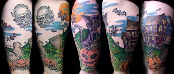 halloween tattoo in color cool tattoos online