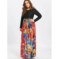 paisley print plus size long sleeve maxi dress black xl in plus