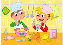 illustration cuisine boy et la cuisine fille dans une cuisine pleine de
