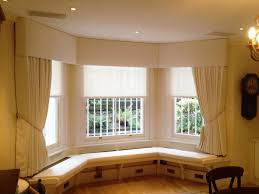padded pelmet and sheer roller blinds window seat london 020