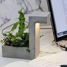 Desk Organizer Lamp Kikkerland Concrete Planter With Usb Led Light Lamp Office Work
