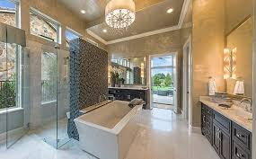 contemporary master bathroom with pendant light u0026 frameless