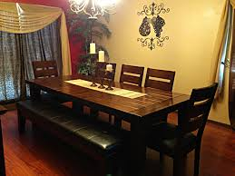 ashley furniture dining table with bench candle holders in the