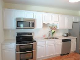 white cabinets are made of wood and an oven in the kitchen design