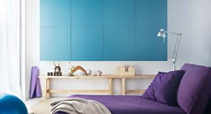 bedroom entrancing bedroom decoration with rectangular blue wall