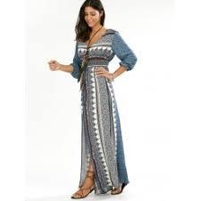 empire waist button down flowy beach bohemian maxi dress in blue