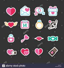 set of valentine day icons for love and wedding card decoration
