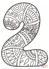 number 2 zentangle coloring page free printable coloring pages