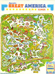 Six Flags America Map by Six Flags Great America Postcards