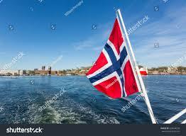 norwegian flag waving on boat stock photo 324044258